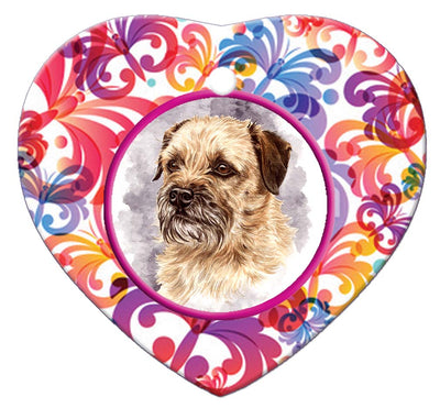 Border Terrier Porcelain Heart Ornament - Butterfly