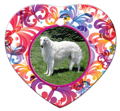 Borzoi Porcelain Heart Ornament - Butterfly