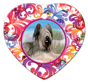 Briard Porcelain Heart Ornament - Butterfly