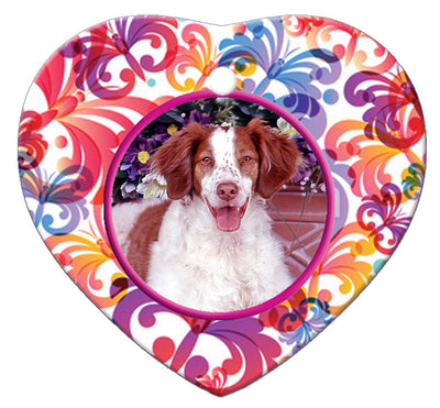 Brittany Spaniel Porcelain Heart Ornament - Butterfly