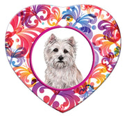Cairn Terrier Porcelain Heart Ornament - Butterfly