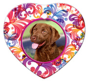 Chesapeake Bay Retriever Porcelain Heart Ornament - Butterfly