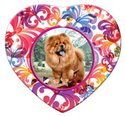 Chow Chow Porcelain Heart Ornament - Butterfly