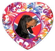 Black & Tan Coonhound Porcelain Heart Ornament - Butterfly