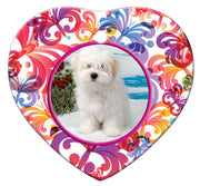 Coton du Tulear Porcelain Heart Ornament - Butterfly