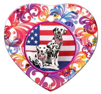 Dalmatian Porcelain Heart Ornament - Butterfly