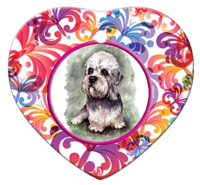 Dandie Dinmont Porcelain Heart Ornament - Butterfly