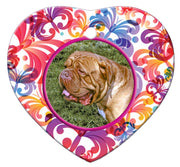 Dogue De Bordeaux Porcelain Heart Ornament - Butterfly