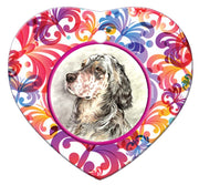 English Setter Porcelain Heart Ornament - Butterfly