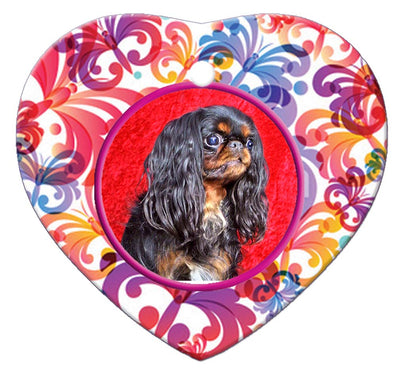 English Toy Spaniel Porcelain Heart Ornament - Butterfly