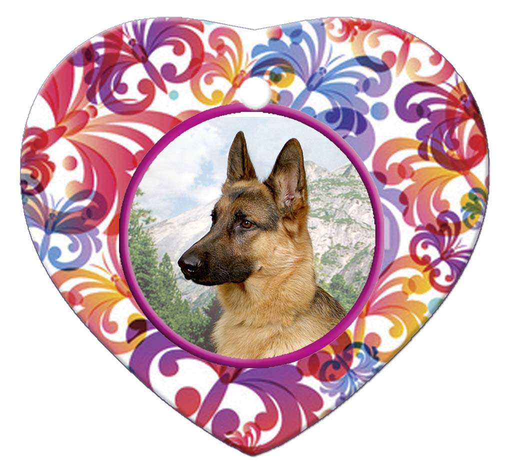 German Shepherd Porcelain Heart Ornament - Butterfly