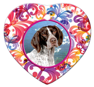 German Shorthair Pointer Porcelain Heart Ornament - Butterfly