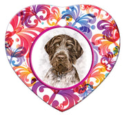 German Wirehair Pointer Porcelain Heart Ornament - Butterfly