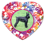 Giant Schnauzer Porcelain Heart Ornament - Butterfly
