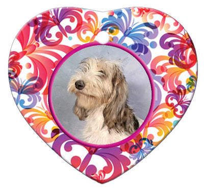 Grand Basset Griffon Vendeen Porcelain Heart Ornament - Butterfly