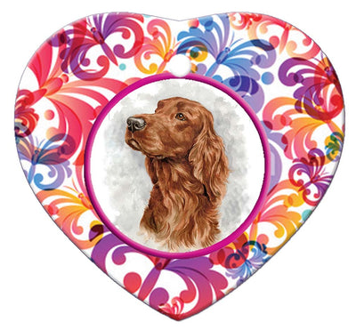 Irish Setter Porcelain Heart Ornament - Butterfly