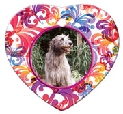 Irish Wolfhound Porcelain Heart Ornament - Butterfly