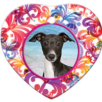 Italian Greyhound Porcelain Heart Ornament - Butterfly