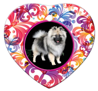 Keeshond Porcelain Heart Ornament - Butterfly