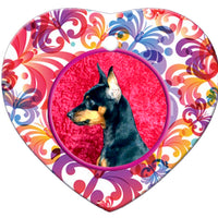 Miniature Pinscher Porcelain Heart Ornament - Butterfly