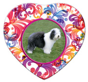 Old English Sheepdog Porcelain Heart Ornament - Butterfly