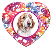 Otterhound Porcelain Heart Ornament - Butterfly
