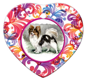 Papillon Porcelain Heart Ornament - Butterfly