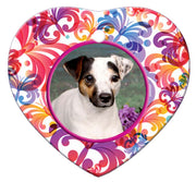 Jack Russell Porcelain Heart Ornament - Butterfly