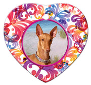 Pharaoh Hound Porcelain Heart Ornament - Butterfly