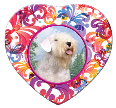 Sealyham Terrier Porcelain Heart Ornament - Butterfly