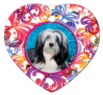 Tibetan Terrier Porcelain Heart Ornament - Butterfly