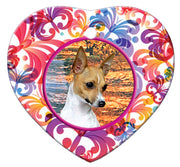 Toy Fox Terrier Porcelain Heart Ornament - Butterfly