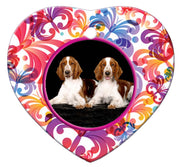 Welsh Springer Spaniel Porcelain Heart Ornament - Butterfly