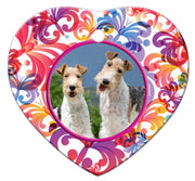 Wire Fox Terrier Porcelain Heart Ornament - Butterfly