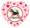 Airedale Terrier Porcelain Heart Ornament - Paws