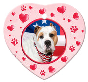American Bulldog Porcelain Heart Ornament - Paws