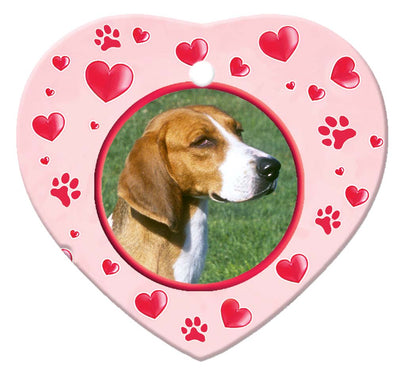 American Foxhound Porcelain Heart Ornament - Paws