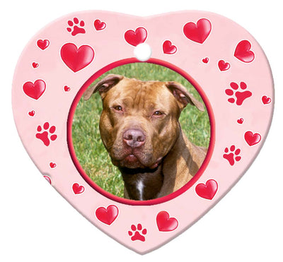 American Pitbull Porcelain Heart Ornament - Paws