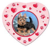 Australian Terrier Porcelain Heart Ornament - Paws