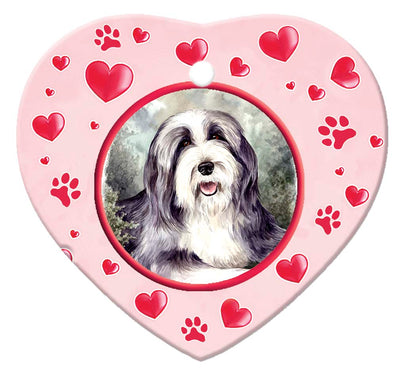 Bearded Collie Porcelain Heart Ornament - Paws