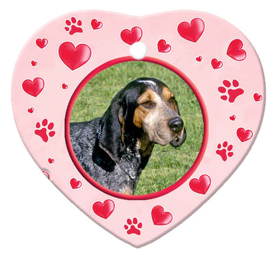 Blue Tick Coonhound Porcelain Heart Ornament - Paws