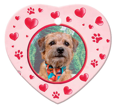 Border Terrier Porcelain Heart Ornament - Paws