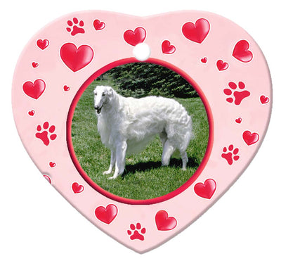 Borzoi Porcelain Heart Ornament - Paws