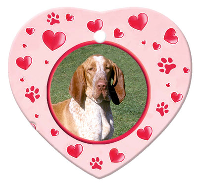 Bracco Italiano Porcelain Heart Ornament - Paws