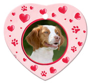 Brittany Spaniel Porcelain Heart Ornament - Paws