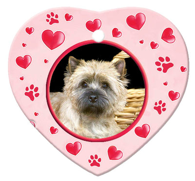 Cairn Terrier Porcelain Heart Ornament - Paws