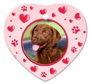 Chesapeake Bay Retriever Porcelain Heart Ornament - Paws