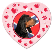 Black & Tan Coonhound Porcelain Heart Ornament - Paws