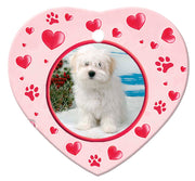 Coton du Tulear Porcelain Heart Ornament - Paws