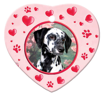 Dalmatian Porcelain Heart Ornament - Paws